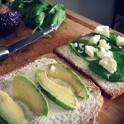 Grilled avocado, cheese and spinach sandwich