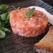 Elegant fresh salmon tartare