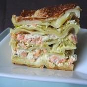Leek and salmon lasagna