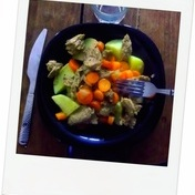 Vegan fake beef and carrots