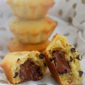 Choco-hazelnut-filled vanilla muffin