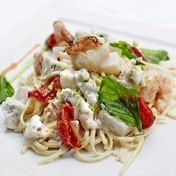Jumbo shrimp, scallops and sun-dried tomato linguine with gorgonzola