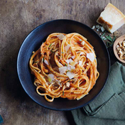 Yvan Cadiou's linguine pesto rosso with almonds