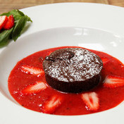 Molten chocolate cake and strawberry-basil soup to die for!