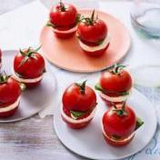 Tomato, strawberry, basil and marinated-mozzarella sliders