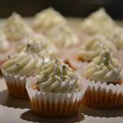 Savory cupcakes with goat cheese frosting