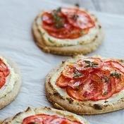MIni tuna and tapenade pizzas