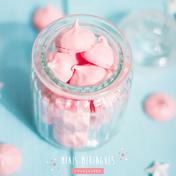 Pink meringue kisses