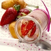Strawberry mousse and tarragon madeleines
