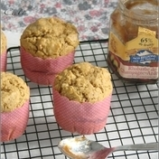 Rhubarb jam and coconut sugar muffins