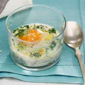 Baked egg with herbs and truffle oil