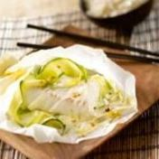 Sea bream and coconut milk en papillote (baked in foil)
