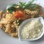 Parmesan cheese basil tomato pasta