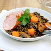 Quick one-pot with pork and lentils