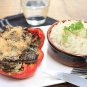 Mushroom-stuffed bell peppers