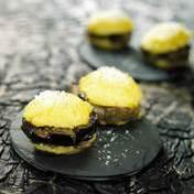 Polenta macarons with confit eggplant