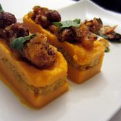 Saffron quinoa, carrot and orange purée, with hazelnut, honey and spice glaze