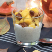 Coconut rice pudding with mango and gingerbread