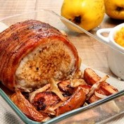 Roast pork with quince and butternut squash puree