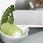 Cucumber rolls and basil chips
