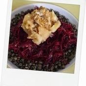 Lentil salad with beet, parsnip confit and shallots