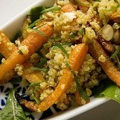 Quinoa salad with roasted carrots and hazelnuts