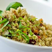Quinoa salad with smoked salmon and grapefruit