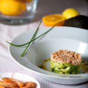 Avocado, shrimp and citrus fruit tartare