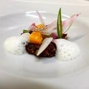 Japanese steak tartare with mango, pickles and lemongrass emulsion