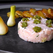 Veal tartare with pickle and spring onion
