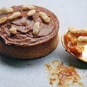 Caramel-rice puff and chocolate cream pie