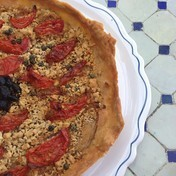 Thin crust tomato and ricotta tart