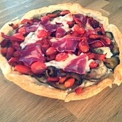 Summertime tarte fine (thin crusted pie) with summer vegetables