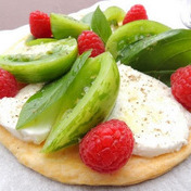 THIN CRUST GREEN TOMATO TART-MOZZARELLA & RASPBERRIES