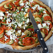 Tian vegetable pie with feta cheese