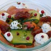 2 salmon, scallop and zucchini tagliatelle tiramisu