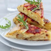 Potato and red 'pimento tortillas