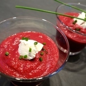 Beetroot in a glass with Kiri cream cheese and chives
