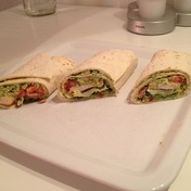 Chicken, bean and pea wrap