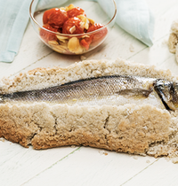 Sea bass baked in salt crust