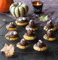 Biscuits - araignées au potiron et chocolat, pour Halloween