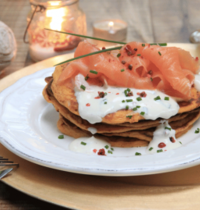 Sweet potato blinis, smoked salmon and vodka cream