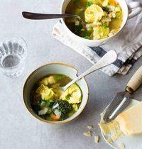 Bouillon de légumes d'hiver complet aux pâtes farcies, façon minestrone