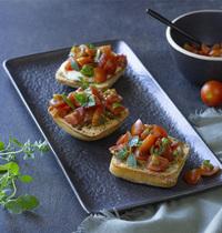Bruschettas tomates, balsamique & mozzarella