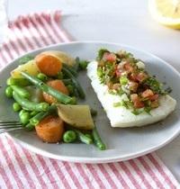 Cabillaud sauce vierge et légumes glacés