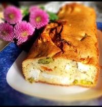 Cake feta,asperges vertes et tomates confites