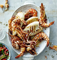 Squid and shrimp, spicy butter and tomato-basil chutney
