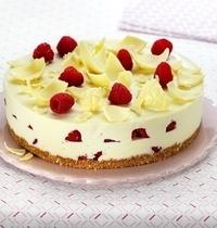Cheesecake au chocolat blanc et framboises