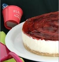 Cheesecake sans Cuisson à la Rhubarbe & à l'Hibiscus