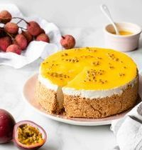 Cheesecake sans cuisson au coulis de mangue